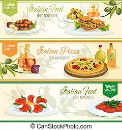cucina,  set, Piatti, cibo, disegno, bandiera, italiano