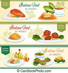 Italian cuisine lunch with dessert banner set. Chicken with...