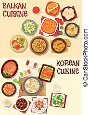 Korean and balkan cuisine dinner icon set - Korean and...