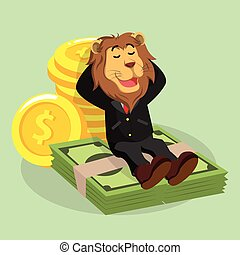business lion laying on money