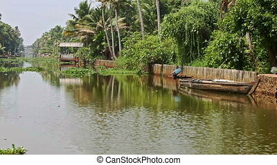 Slow Motion along River between Palm Banks in Tropics -...