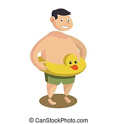 fat man with inflatable duck