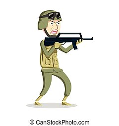 angry army man illustration design