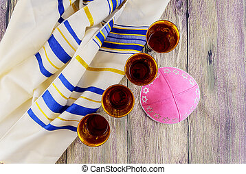 Jewish holiday Sabbath Prayer Shawl Tallit table set for...
