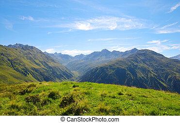 Summer landscape in Switzerland Alps - canton Graubunden.