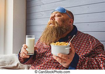 manger, matin, céréales, Épais, type, heureux