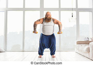 Fat man training his body - I am very strong. Thick guy is...