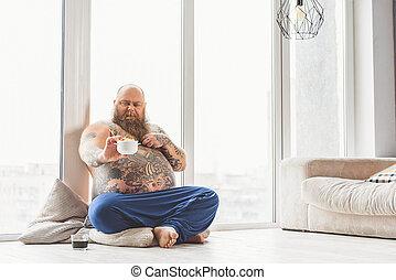 pas, céréales, aimer, graisse, homme
