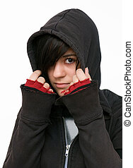Hooded jacket - Young woman with black hooded jacket