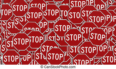 Wall of Octagonal Red Stop Signs - Large alligned pile of...