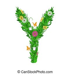 Green eco letter with leaves and flowers. Flat vector. - Y...