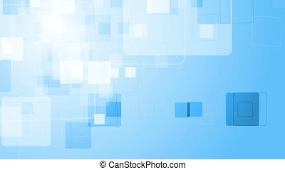 Abstract blue geometric video animation with squares -...