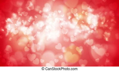 Bright red glowing bokeh hearts video animation