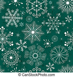 Christmas Seamless green-white Pattern - Seamless green...