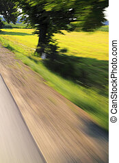 Road and tree with motion blur effect