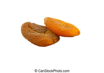 Apricots dried - naturaly dried apricots isolated on white...