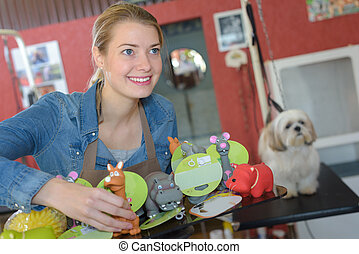 grooming business and animal toys