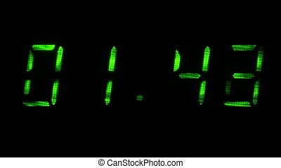 Digital clock shows time of 01 minutes 39 seconds to 02...
