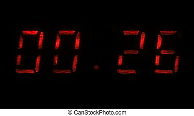 Digital clock shows the time of 59 minutes 40 seconds to 00...