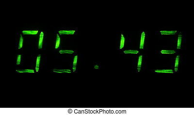Digital clock shows time of 05 minutes 40 seconds to 06...