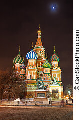 Saint Basil's Cathedral at the Red Square in Moscow by a...