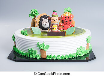cake or Creative animals themed cake on a background.