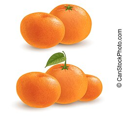 Mandarin - Fresh ripe mandarins or tangerines with leaf and...