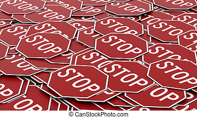 Large Pile of Octagonal Red Stop Signs - Large alligned pile...
