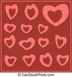 Set of hearts for Valentine s Day. Set for wedding. red 3D...