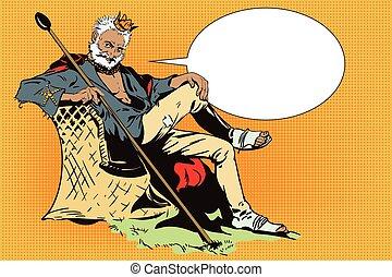 King on a desert island. Beggar King. - Stock illustration....