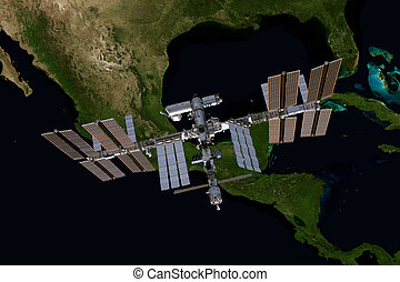 International Space Station over the planet Earth. Elements...