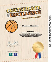 Portrait certificate of excellence template in sport theme for basketball event with wooden floor background