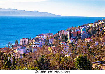 Town of Opatija cathedral and coast view, Kvarner bay of...