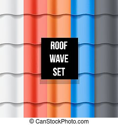 Set of Tiled roof seamless patterns - Set of different color...