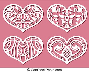 Laser printing romantic lacy wedding hearts with carved...