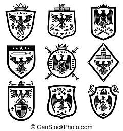 Medieval eagle heraldry coat of arms, emblems, badges