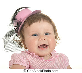 Adorable baby girl in pink clothes  on a white background