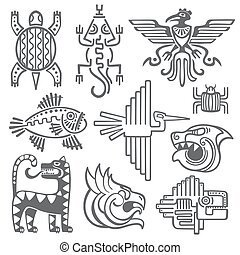 Historic aztec, inca vector symbols, mayan temple pattern, native american culture signs