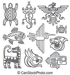 Historic aztec, inca vector symbols, mayan temple pattern,...