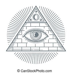 Mystical occult sign with freemasonry eye symbol vector illustration