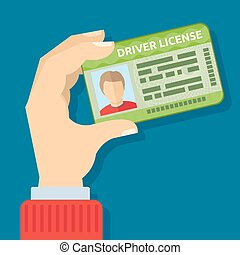 Hand holding id card, car driving licence vector...