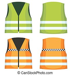 Safety road vest, waistcoat with reflective stripes vector...