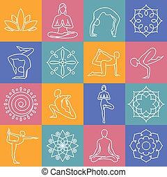 Yoga, body poses vector symbols for pilates studio,...