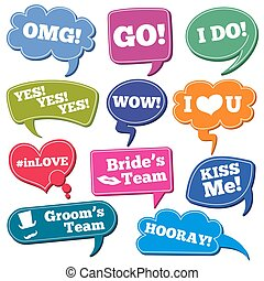 Weddings phrases in speech bubbles vector photo props set....