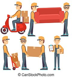 Man carrying boxes, delivery service people vector set. Man...