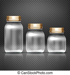 Empty glass jars with lods for grandma kitchen canning...