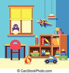 Preschool kindergarten classroom with toys cartoon vector...