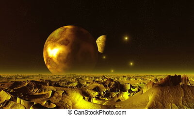 Two Giant Moon in the Sky Alien Planet - Two huge planet...