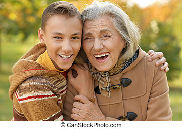 grandmother with her grandson - Portrait of a grandmother...