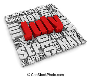 July - 3D text representing the twelve months of the year....